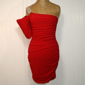 DEB One Shoulder Short Sleeve Red Bodycon Dress